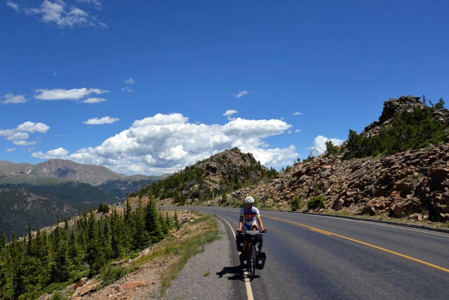 Trail Ridge v Koloráde na bicykli